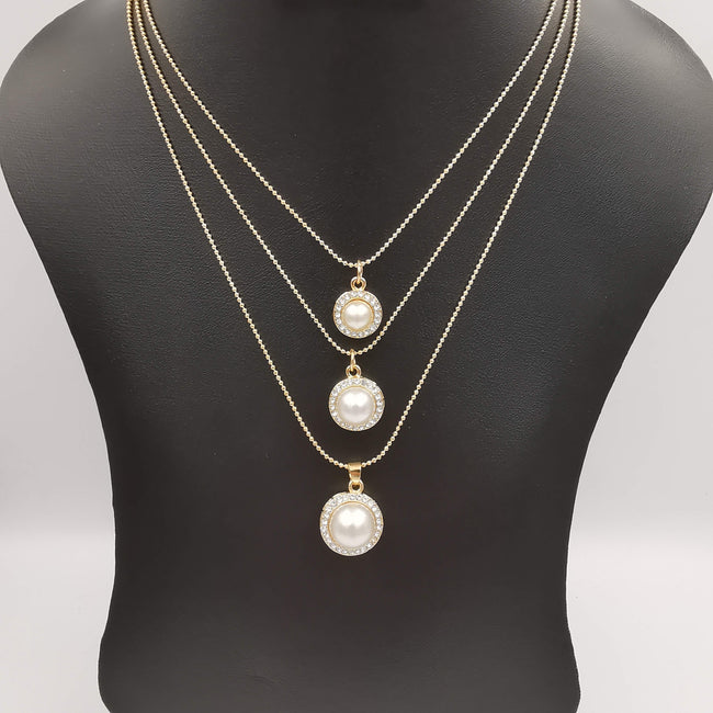 Triple Pearl Multi Layer Necklace - Golden - Offer Hunts