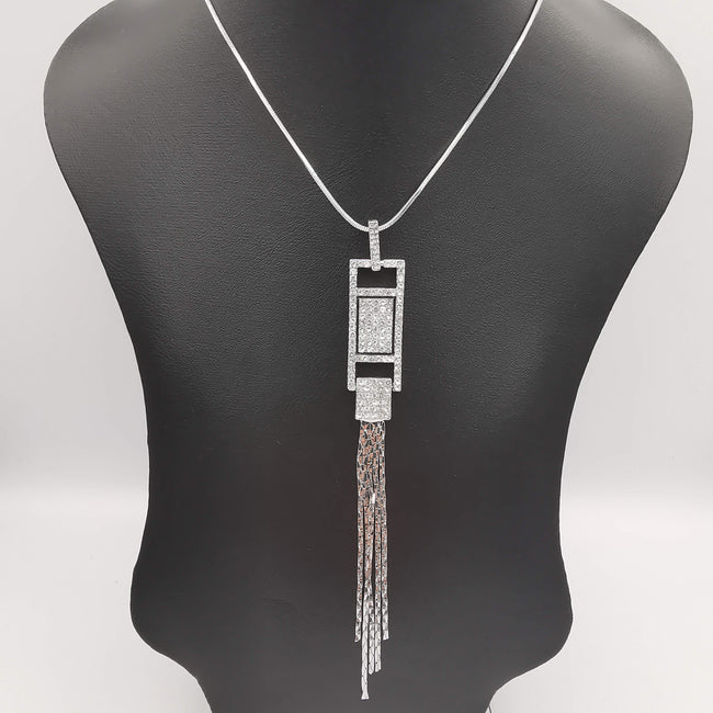 Rectangular Bling Silver Necklace - CZ Crystals - Offer Hunts