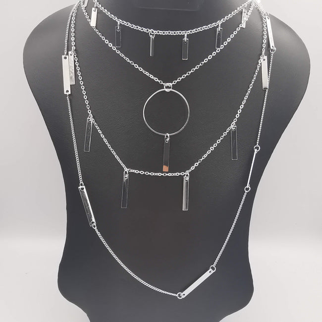 Rectangular Danglers Multi Layer Necklace - Silver - Offer Hunts