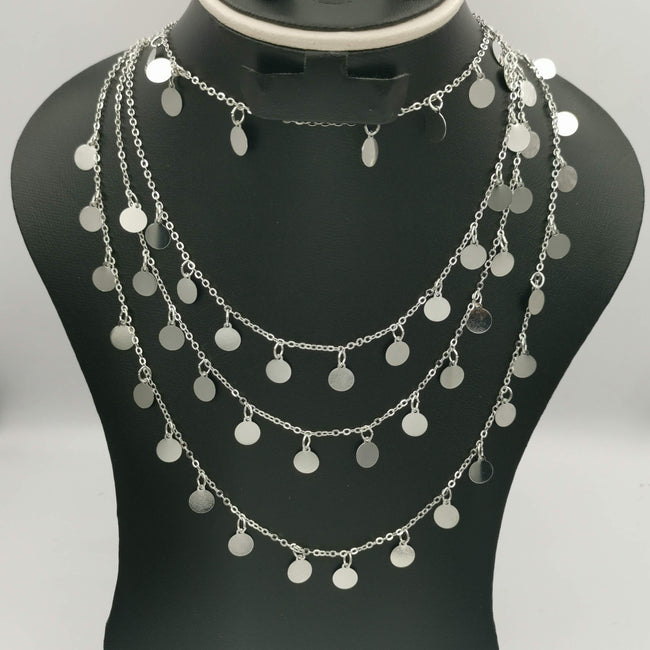 Round Danglers Multi Layer Necklace - Silver - Offer Hunts