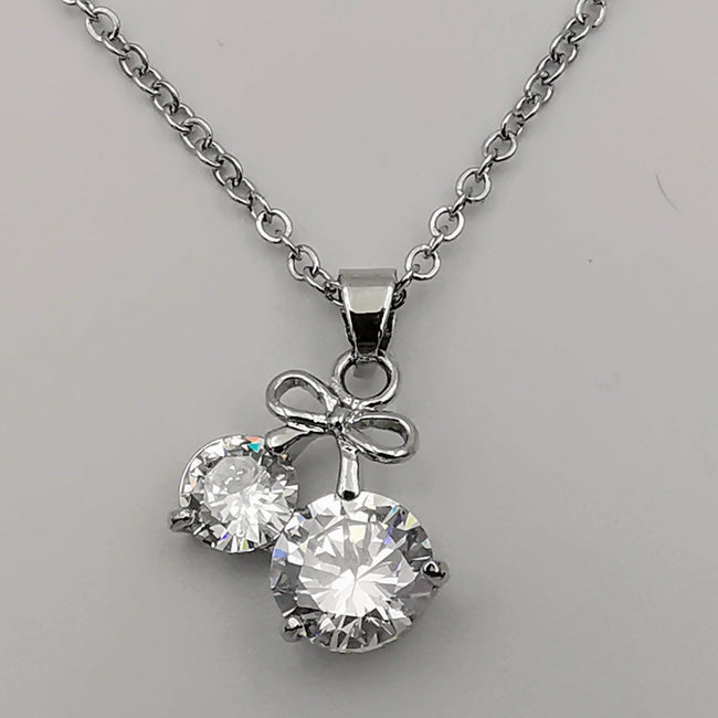 Double Diamond Silver Necklace - CZ Crystals - Offer Hunts