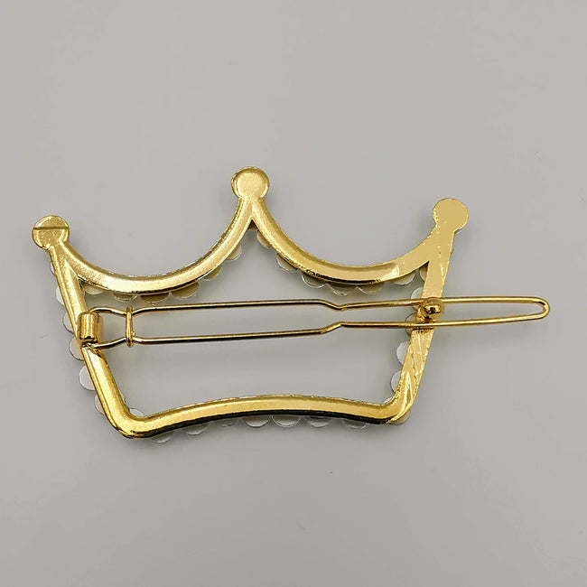 Crown Hair Clip - Golden Rhinestone - Offer Hunts