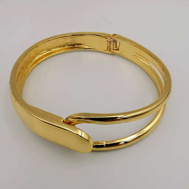 Golden Adjustable Stainless Steel Bangle Bracelet - Offer Hunts