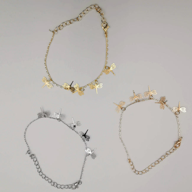 [3 Anklet Set] Butterfly Design - Silver + Yellow Gold + Rose Gold - Offer Hunts