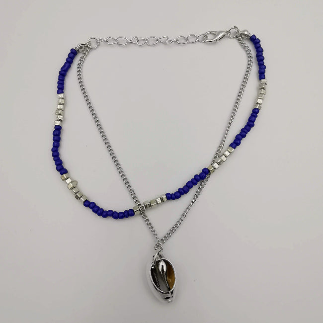 Fashion Anklet - 2 Layer - Blue/Silver - Handmade - Offer Hunts