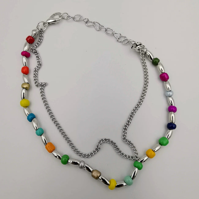 Fashion Anklet - 2 Layer - Multi Color/Silver - Handmade - Offer Hunts