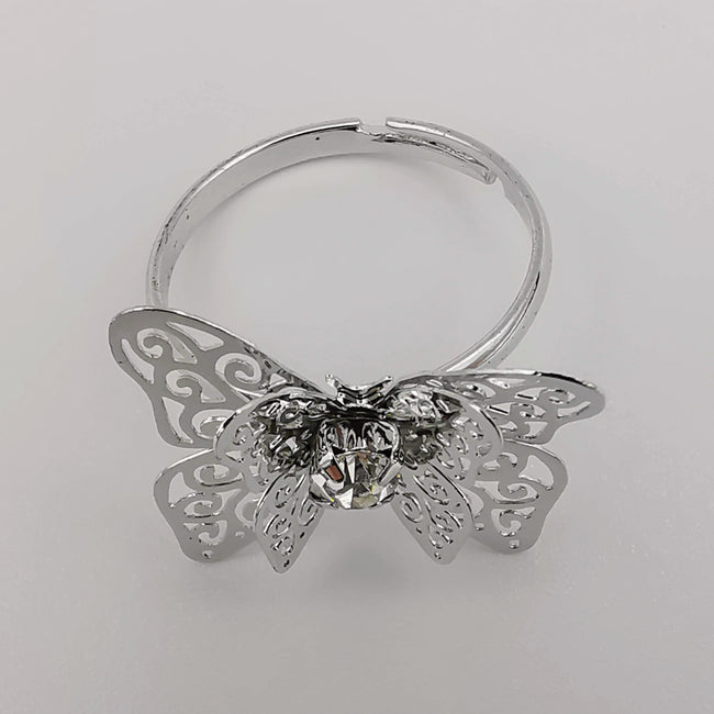 Butterfly Silver Adjustable Ring with Zirconia Diamond - Offer Hunts