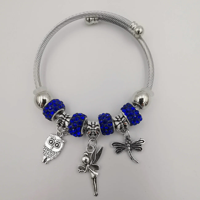 Dark Blue Charm Bracelet with Crystals - Offer Hunts