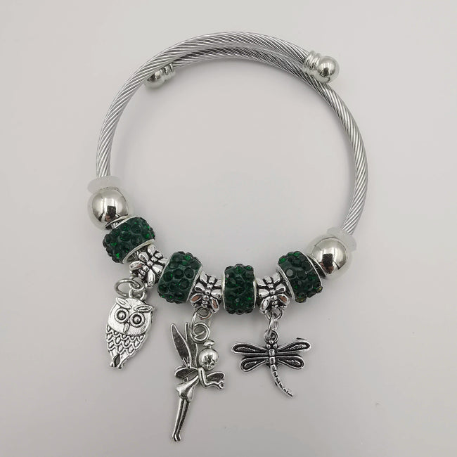 Dark Green Charm Bracelet with Crystals - Offer Hunts