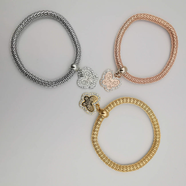 3 Bracelet Charm Set - Butterfly - Silver + Gold + Rose Gold - Offer Hunts