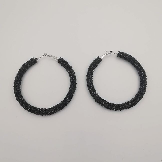 Glitter Round Earrings - Medium Size - 6 Colors - 2 Sizes - Offer Hunts