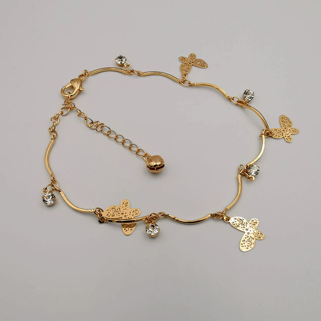 Butterfly Design Anklet - 24K Gold Plate - Offer Hunts