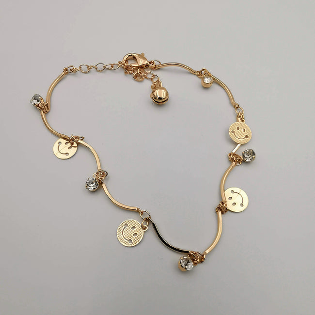 Smiley Design Anklet - 24K Gold Plate - Offer Hunts