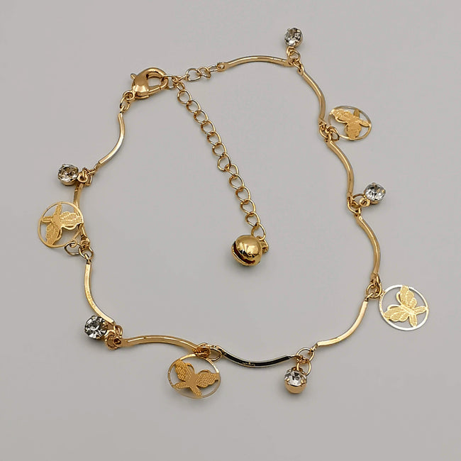 Round Butterfly Design Anklet - 24K Gold Plate - Offer Hunts