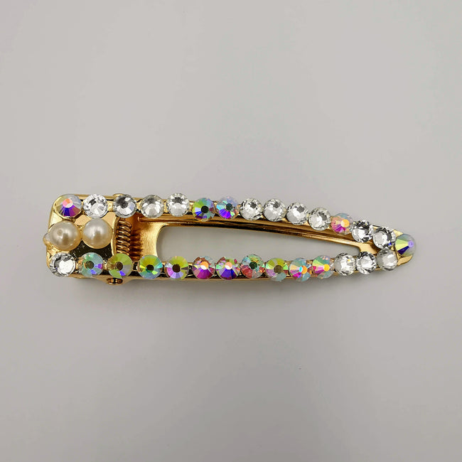 Double Pearl Hair Clip - Golden Rhinestone - Offer Hunts