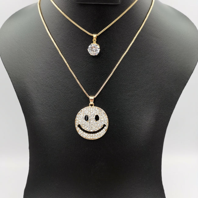 Smiley Double Layer Necklace - Offer Hunts