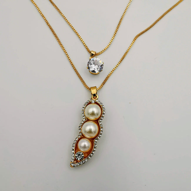 Pea Pearl Double Layer Necklace - Golden and Silver - Offer Hunts
