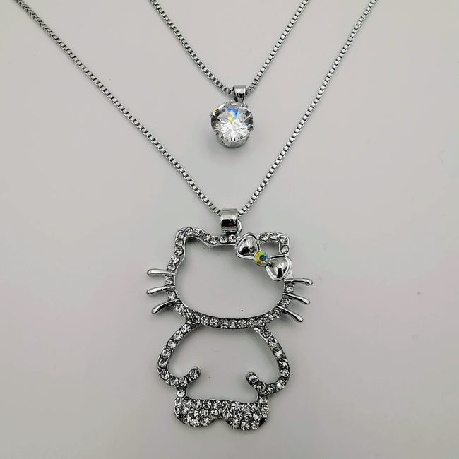 Hello Kitty Editions Double Layer Necklace - Golden and Silver - Offer Hunts