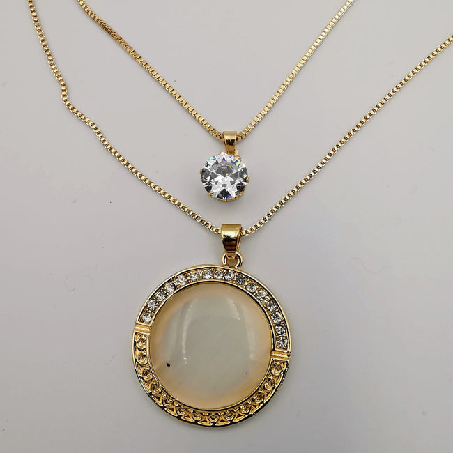 Round Mother of Pearl Double Layer Necklace - Offer Hunts