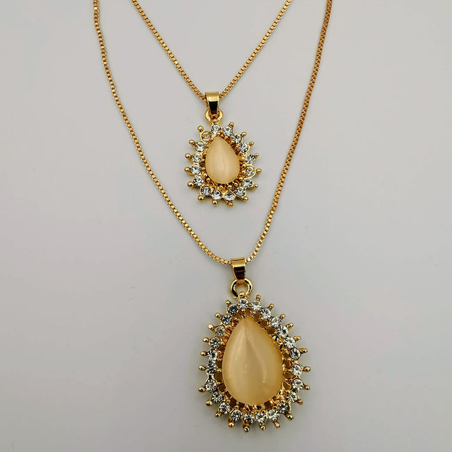 Bi-Oval Double Layer Necklace - Golden and Silver - Offer Hunts