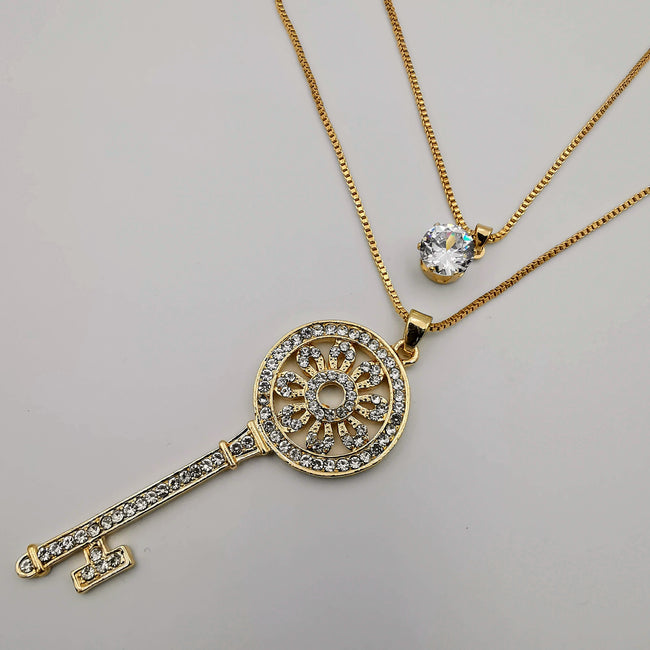 Key of Life Double Layer Necklace - Golden and Silver - Offer Hunts