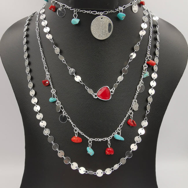 Colorful Stone Danglers 4 Layer Necklace - 5 Designs - Offer Hunts
