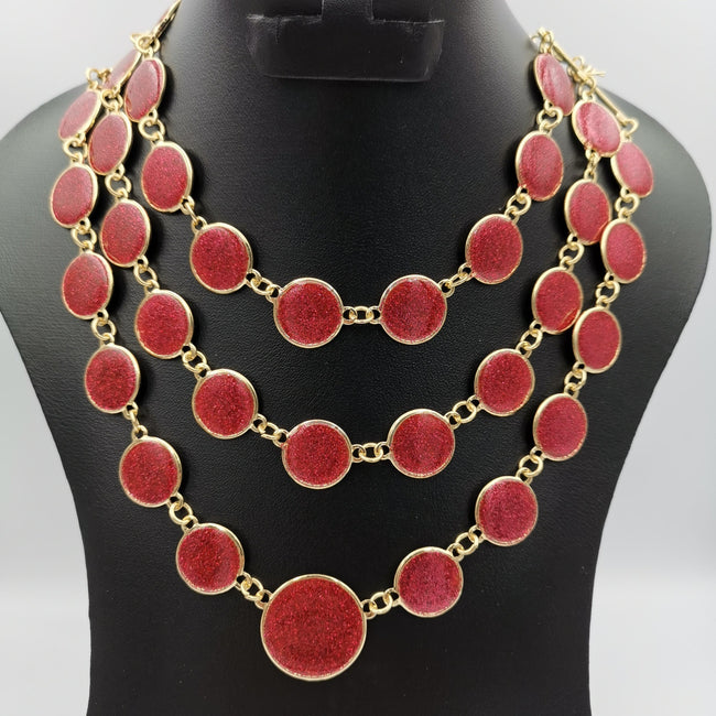 Round Dewdrop 3 Layer Necklace - Multiple Colors - Offer Hunts
