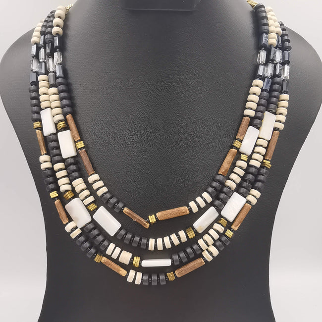Wooden Handmade 4 Layer Necklace - Multiple Colors - Offer Hunts