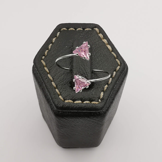 Petite Pink Triangle Double Stone Ring - Adjustable Size - Multiple Colors - Offer Hunts