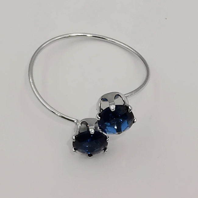 Petite Blue Round Double Stone Ring - Adjustable Size - Multiple Colors - Offer Hunts