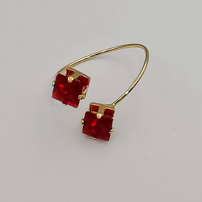 Petite Red Square Double Stone Ring - Adjustable Size - Offer Hunts