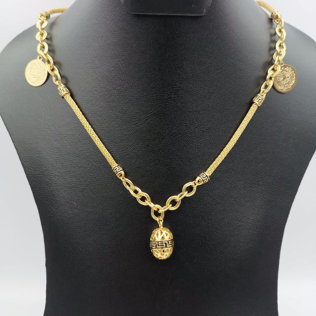 Premium 24K Gold Plated Egg Coin Necklace - Offer Hunts