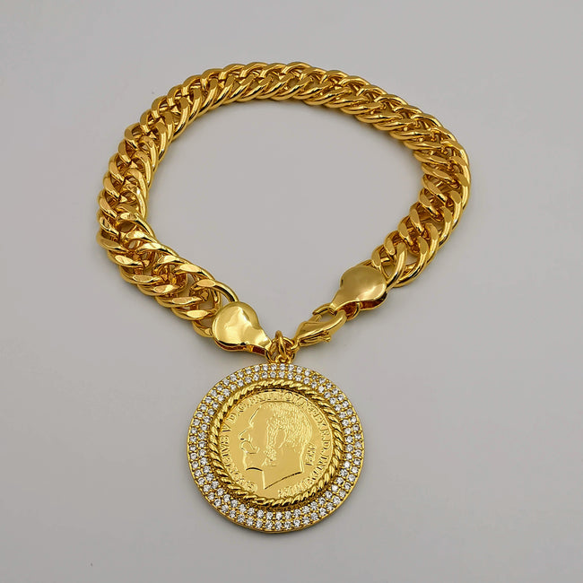 24K Gold Plated Coin Bracelet - Offer Hunts