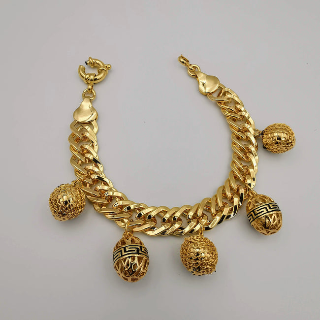 24K Gold Plated Egg Charm Bracelet - Offer Hunts