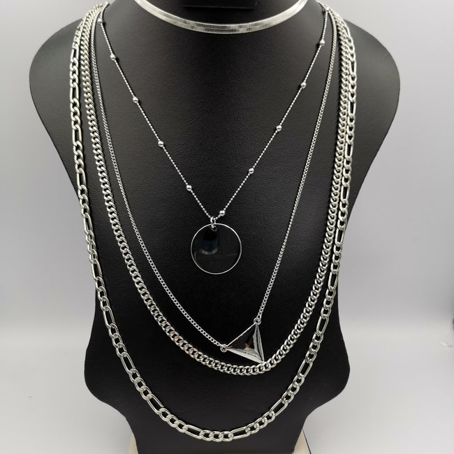Defiant Bond 5 Layer Necklace - Golden and Silver - Offer Hunts
