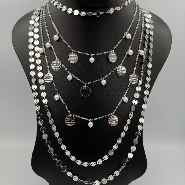 Deluxe Pearl 6 Layer Necklace - Golden and Silver - Offer Hunts