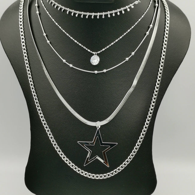 Star Spark 5 Layer Necklace with Zirconia Diamond - Golden and Silver - Offer Hunts