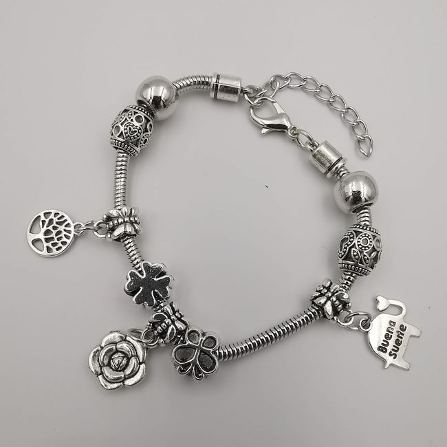 Pand0ra Clone Charm Bracelet [Tree of Life + Flower + Elephant] - Offer Hunts