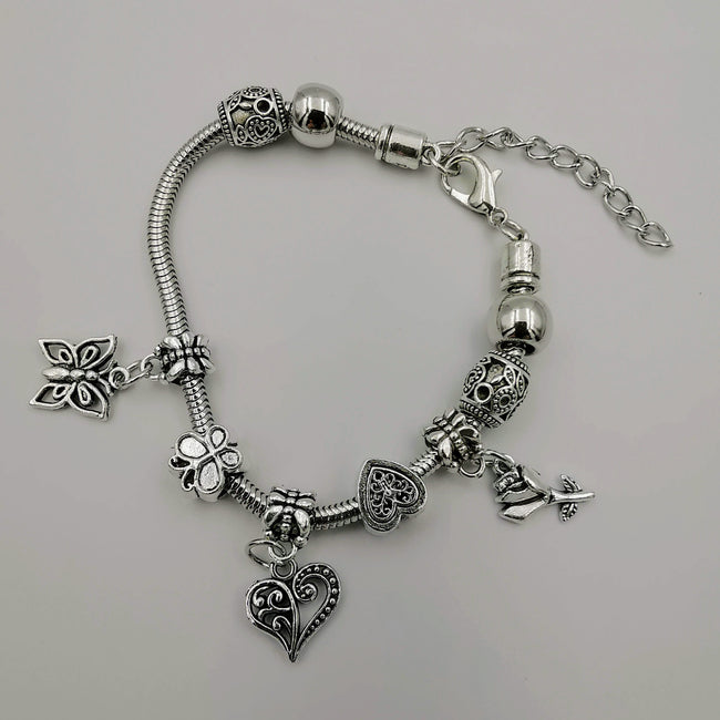 Pand0ra Clone Charm Bracelet [Heart + Butterfly + Rose] - Offer Hunts