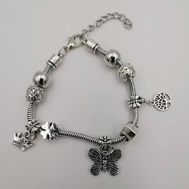 Pand0ra Clone Charm Bracelet [Crown + Butterfly + Tree of Life] - Offer Hunts
