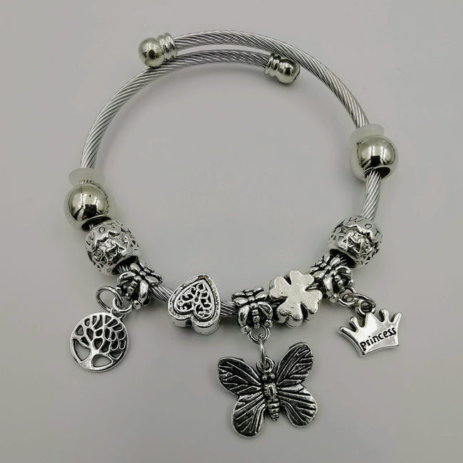 Charm Bracelet [Tree of Life + Butterfly + Crown] - Offer Hunts