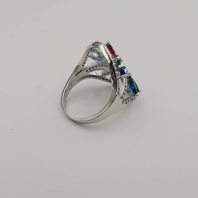 24K White Gold Plated Colorful Gem Ring - Multiple Sizes - Offer Hunts