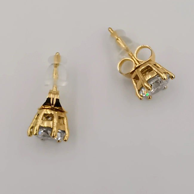 24K Gold Simulated Diamond Earrings Stud - Offer Hunts
