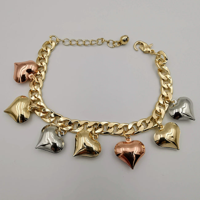 18K Gold Plated Heart Chain Bracelet - Offer Hunts