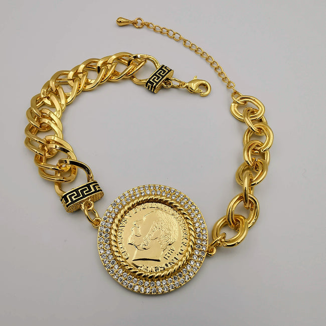 24K Gold Plated Coin - Round Givench.y Clear Zirconia Diamond Bracelet - Offer Hunts