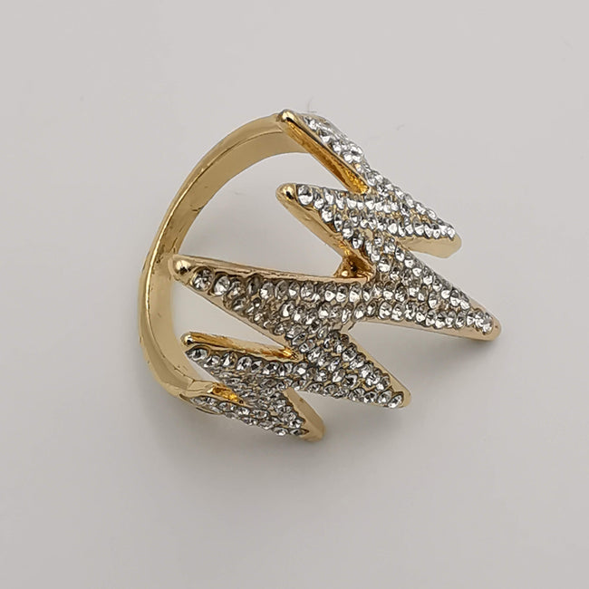 Wave Bling Simulated Diamond Ring - Golden and Silver - Offer Hunts