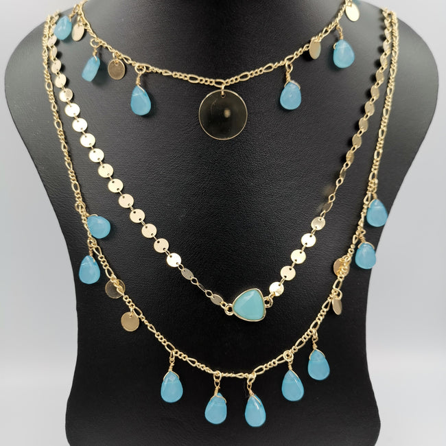 Droplet Danglers 3 Layer Necklace - Multiple Designs - Offer Hunts