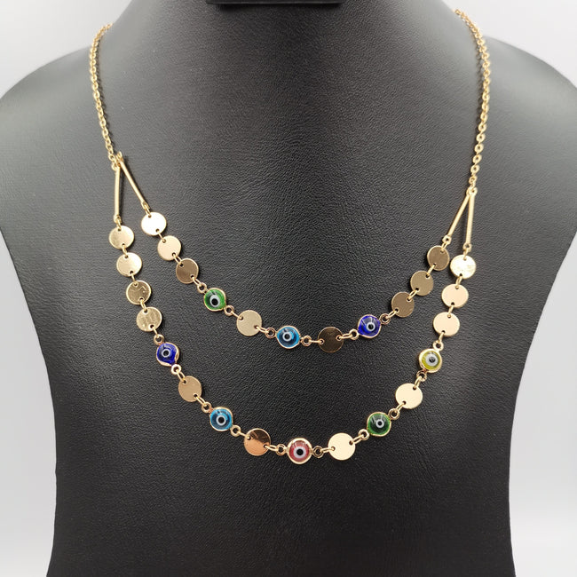 Colorful Eye Protectors 2 Layer Necklace - 24K Gold Plate - Golden and Silver - Offer Hunts