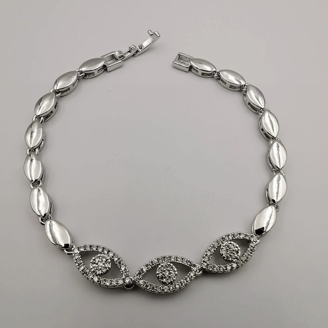 24K White Gold Plated Eye Diamond Bracelet - Clear - Offer Hunts