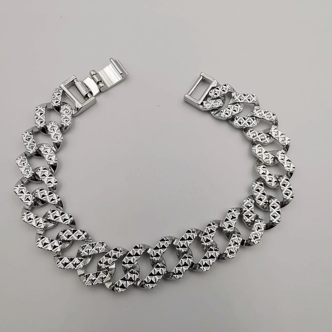 24K White Gold Plated Chain Link Design - Clear - Offer Hunts